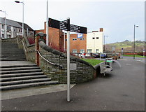 ST1599 : Bilingual (Welsh/English) signpost near Bargoed bus station by Jaggery