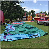 SP3165 : Awaiting inflation – attraction at the funfair, Pump Room Gardens, Leamington by Robin Stott