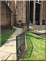 SP3378 : Wheelchair ramp up to the cathedral entrance, Coventry – start of the handrail by Robin Stott