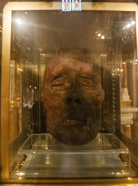 St Peter's RC Church, Drogheda: preserved head of St Oliver Plunkett