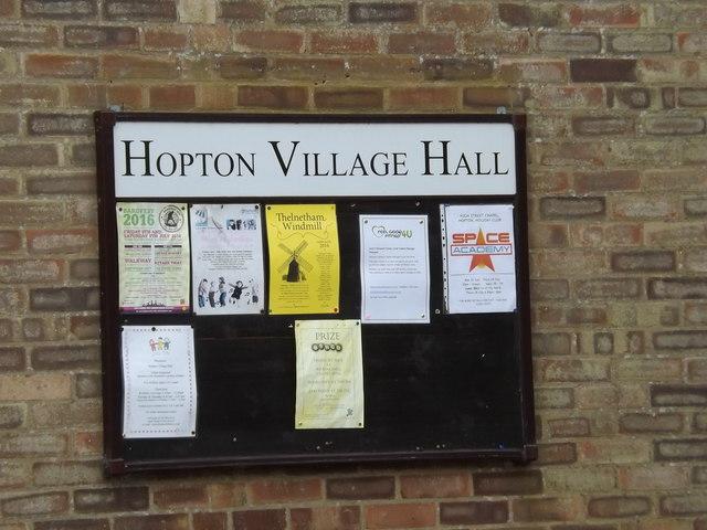 Hopton Village Notice Board on Hopton Village Hall