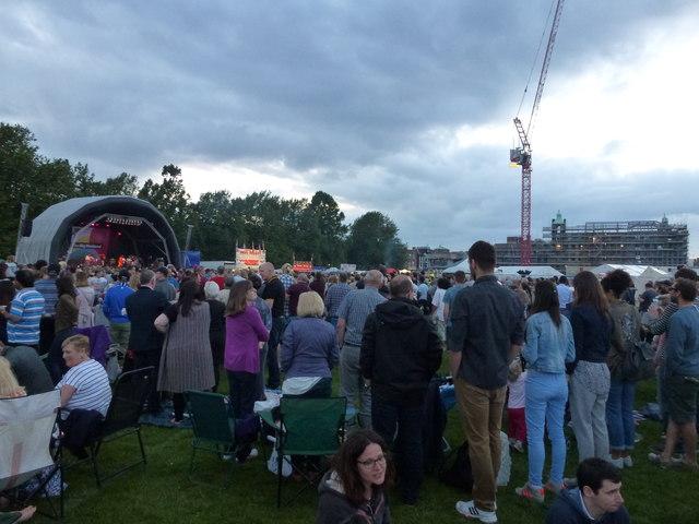 Large crowd on Parker's Piece, Cambridge