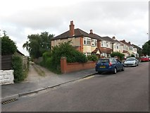 SZ0995 : Moordown: Priory View Place leaves Redbreast Road North by Chris Downer
