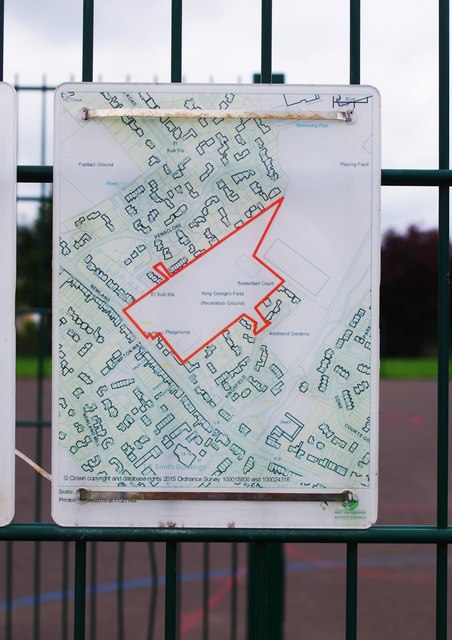 Map at St. George's Field, Newland, Witney, Oxon
