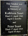 SD5678 : Plaque on Suart memorial sundial, St John's Church, Hutton Roof by Karl and Ali
