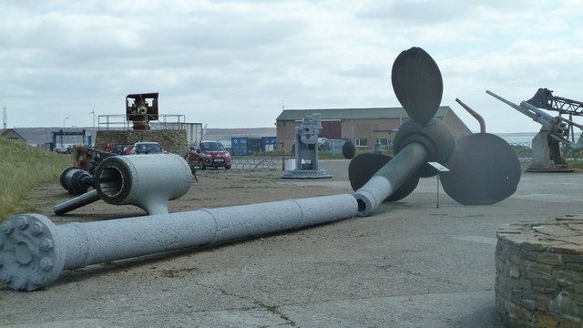 Naval artefacts outside Scapa Flow Museum