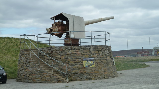 Naval gun outside the Scapa Flow Museum