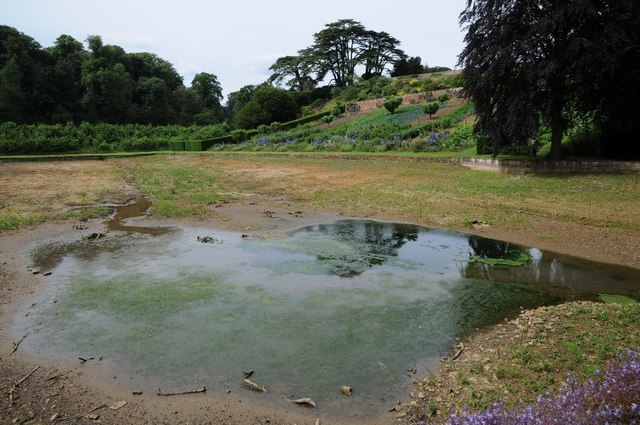 Drained Mirror Lake at Upton House