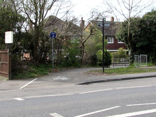 Cycle route and footpath viewed across Gloucester Road, Cheltenham