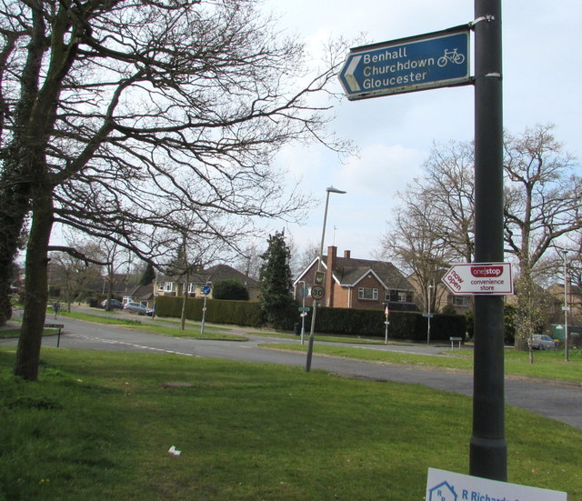 Cycle route direction sign on a Cheltenham corner