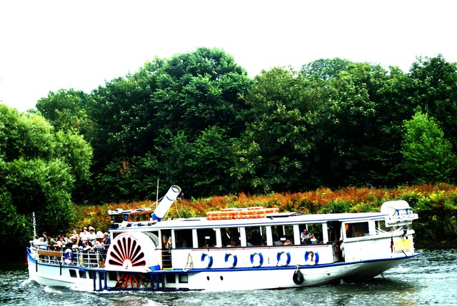 View of the Yarmouth Belle paddle steamer on the Thames at Marble Hill Park