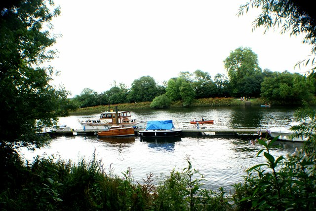 View of boats moored on the Thames near Marble Hill House