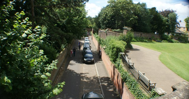 View along Riverside from the footbridge leading to York House