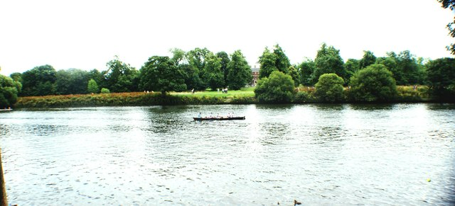 View of a canoe on the Thames at Marble Hill Park