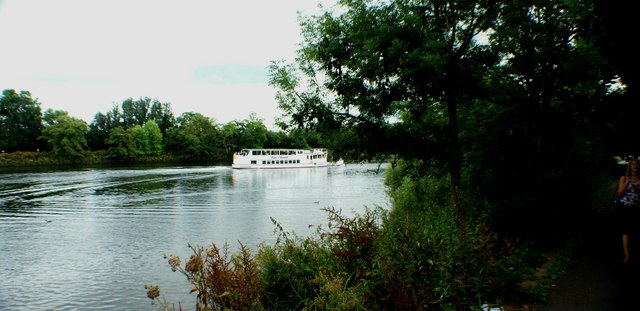 View of a cruiser passing along the Thames by Marble Hill House