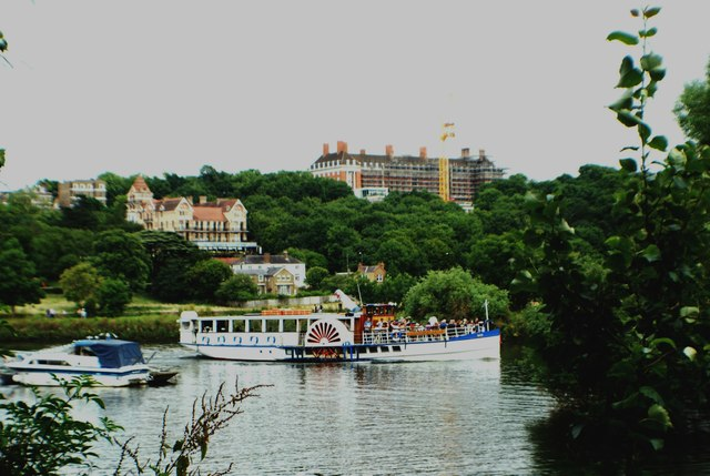 View of the Yarmouth Belle paddle steamer on the Thames at Richmond