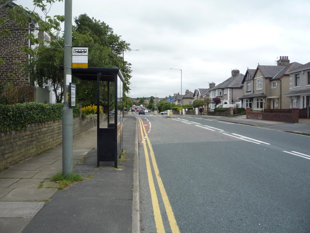 Bus stop and shelter on Brunshaw Road