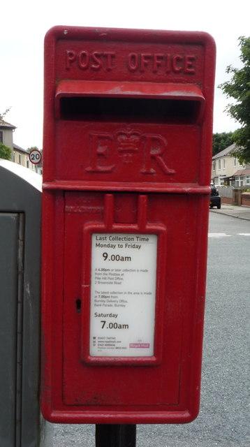 Close up, Elizabeth II postbox on Brunshaw Road, Pike Hill. Burnley