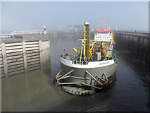 ST1972 : Dredger in Cardiff Barrage Outer Harbour by Gareth James