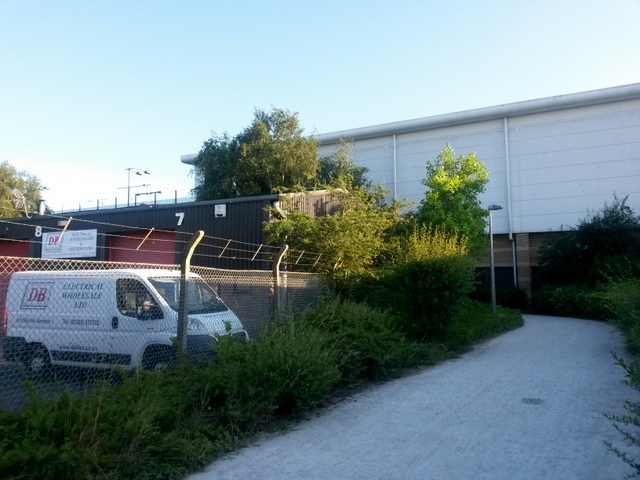 Strouden: passing some industrial units on bridleway K35