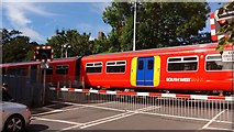 TQ1572 : View of a Class 455 train leaving Strawberry Hill Station by Robert Lamb