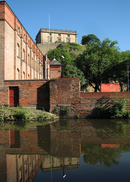 Nottingham Castle reflected in the canal