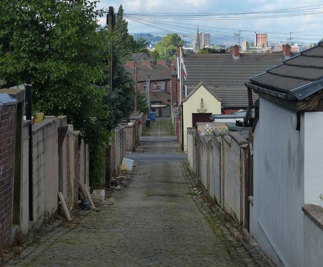 Alleyway in the Mill Hill area of Blackburn