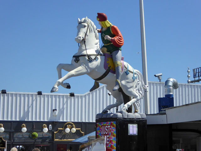 White horse and male rider, Brighton Palace Pier