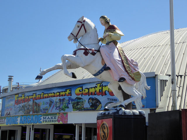 White horse and female rider, Brighton Palace Pier