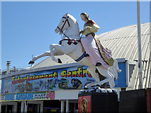 TQ3103 : White horse and female rider, Brighton Palace Pier by Robin Webster