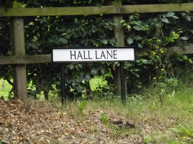 Hall Lane sign on Hall Lane