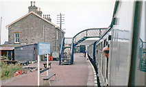 ND1559 : Georgemas Junction station from a train to Wick,1976 by Walter Dendy, deceased