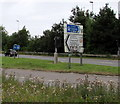 ST2885 : A48 and M4 direction signs in the west of Newport by Jaggery
