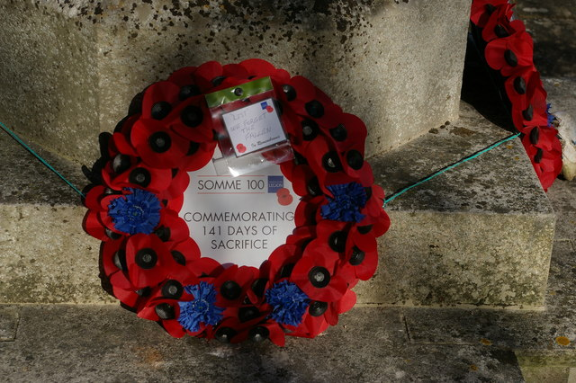 Farnborough war memorial: wreaths for the centenary of the Battle of the Somme