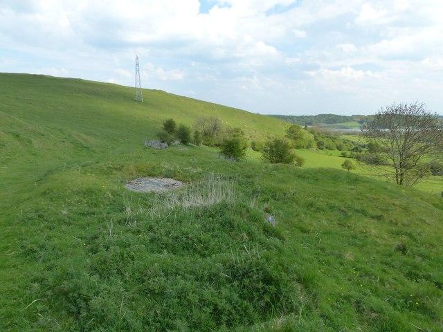 Capped mineshaft near Carsington