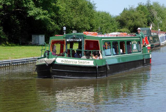 Broadbeam canal trip boat at Willington, Derbyshire