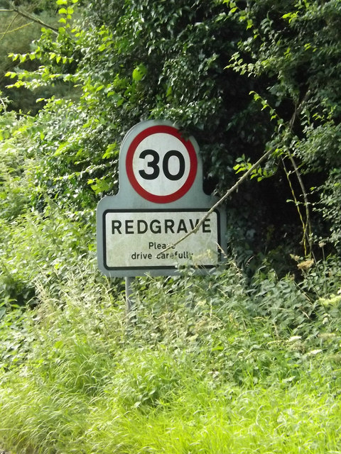 Redgrave Village Name sign on the B1113 Redgrave Road