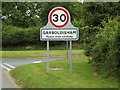TM0080 : Garboldisham Village Name sign on the B1111 Hopton Road by Adrian Cable