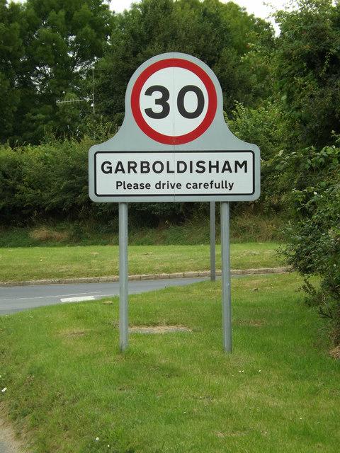 Garboldisham Village Name sign on the B1111 Hopton Road