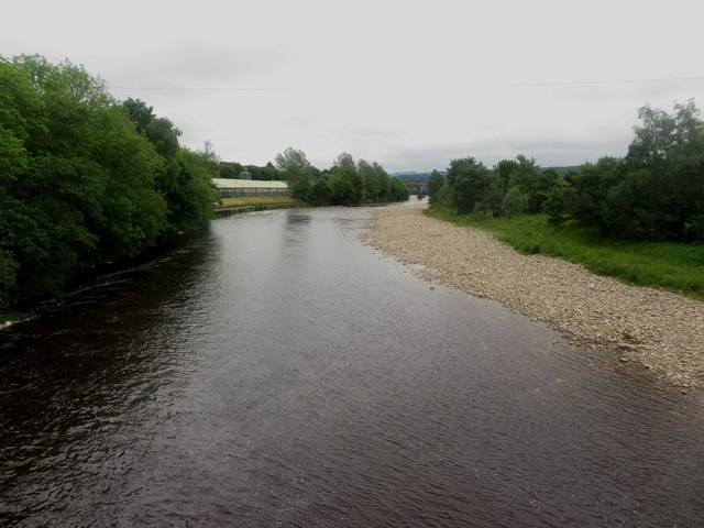 View upstream along the River South Tyne at Haltwhistle