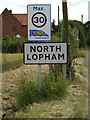 TM0383 : North Lopham Village Name sign by Adrian Cable