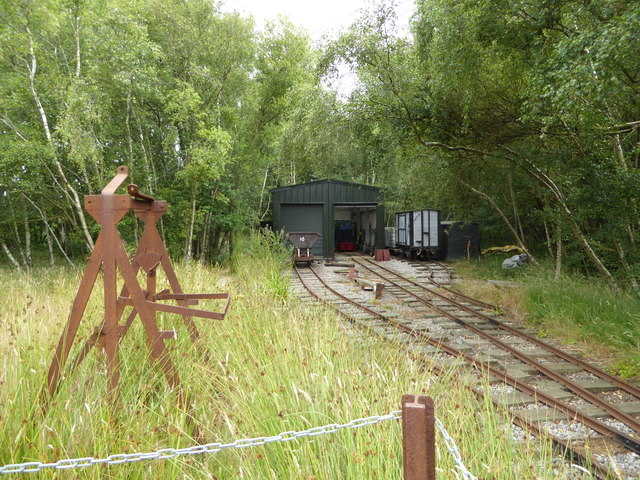 Engine sheds on the tramway at the ball clay mining museum