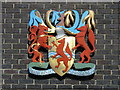 TQ3296 : Enfield's coat of arms on the Enfield Civic Centre, Silver Street, EN1 by Mike Quinn