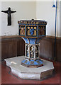 TL6860 : St Mary & the Holy Host of Heaven, Cheveley - Font by John Salmon