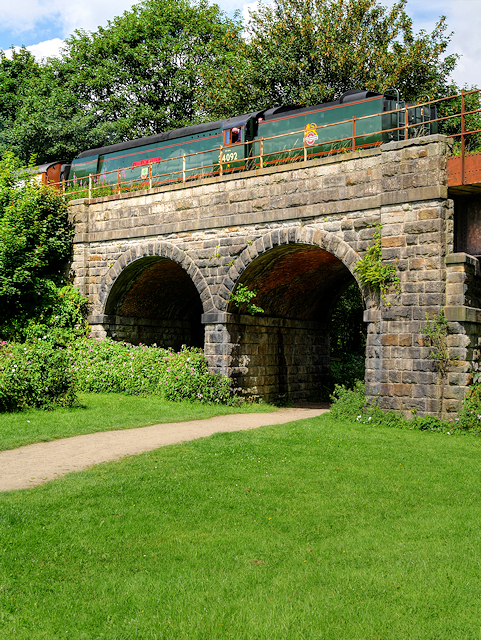 City of Wells Crossing the Calrows Viaduct at Burrs Country Park