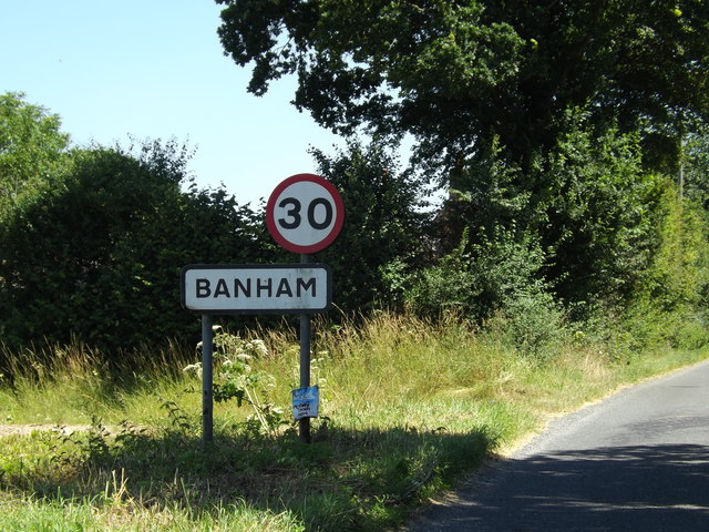Banham Village Name sign on Kenninghall Road