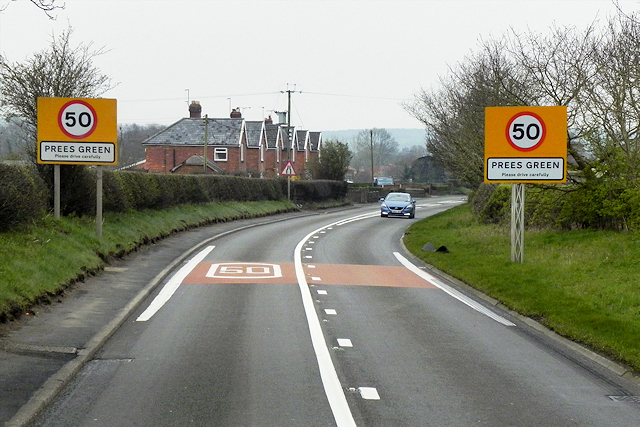 Southbound A49 Approaching Prees Green