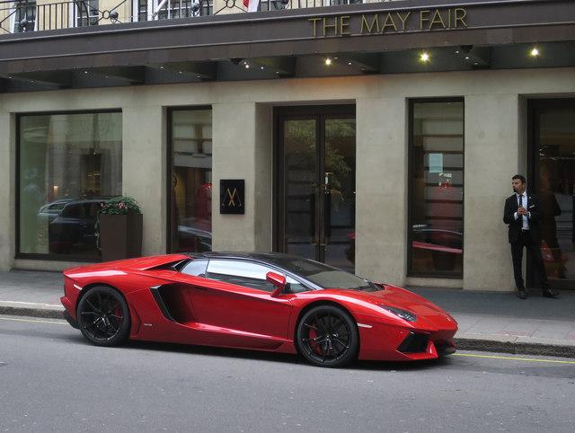 Lamborghini Aventador outside The May Fair