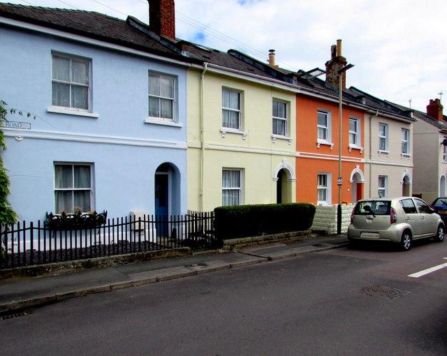 Pastel colours in Roman Road, Cheltenham