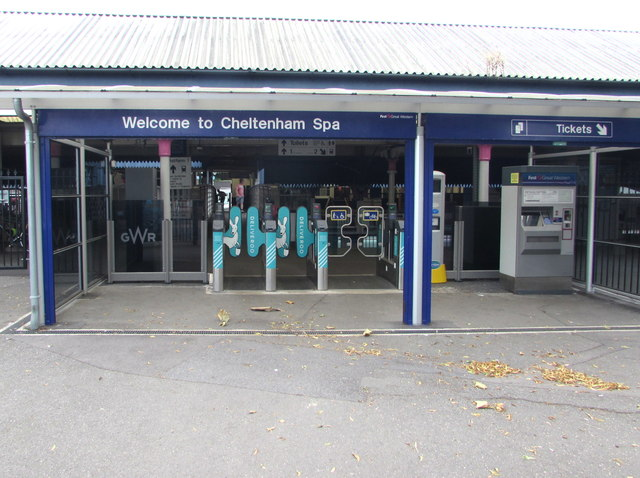 Ticket barriers and ticket machine at the western entrance to Cheltenham Spa railway station